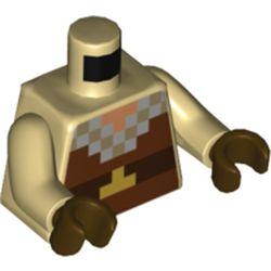LEGO part 973c26h07pr5510 Torso Pixelated Tunic, Reddish Brown, Dark Brown, Light Bluish Gray Squares Print, Tan Arms, Dark Brown Hands in Brick Yellow/ Tan