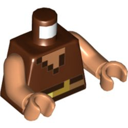 LEGO part 973c13h13pr5511 Torso Pixelated Vest and Belt, Dark Brown and Flesh Squares Print, Flesh Arms and Hands in Reddish Brown
