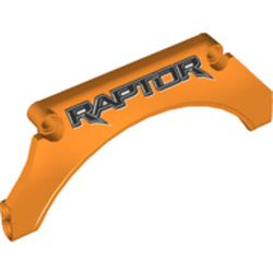 LEGO part 42545pr0005 Technic Panel Car Mudguard Arched 13 x 2 x 5 with Black 'RAPTOR' print in Bright Orange/ Orange