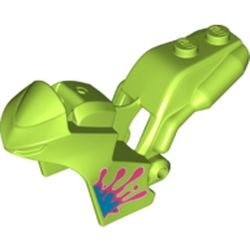 LEGO part 78317pr0002 Fairing, Motorcycle, Racing (Sport) Bike with 1 x 2 Studs and Coral and Dark Azure Paint Splotch Print in Bright Yellowish Green/ Lime