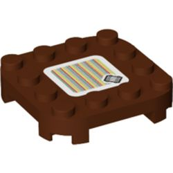 LEGO part 77770 Plate Round Corners 4 x 4 x 2/3 Circle with Reduced Knobs and Raft and Barcode Print (Sticker) in Reddish Brown