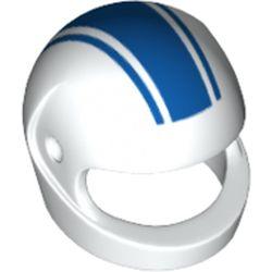 LEGO part 2446pr9997 Minifig Standard Helmet with Blue Stripes Print in White
