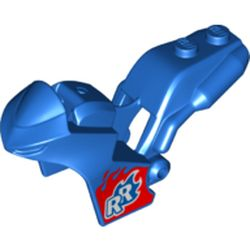 LEGO part 78317pr0004 Fairing, Motorcycle, Racing (Sport) Bike with 1 x 2 Studs and Red Flames with 'RR' Print in Bright Blue/ Blue