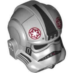 LEGO part 77858 Minifig Helmet Stormtrooper (AT-AT or Tie Pilot) Dark Red Empire Symbol, Black Markings in Medium Stone Grey/ Light Bluish Gray