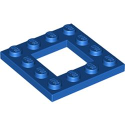 LEGO part 64799 Plate Special 4 x 4 with 2 x 2 Cutout in Bright Blue/ Blue