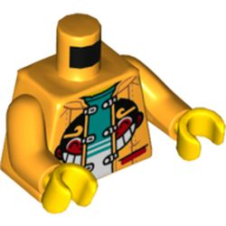 LEGO part 973c38h01pr5522 Torso Jacket, with Monkey Face, Open over White and Dark Turquiose Undershirt Print, Bright Light Orange Arms, Yellow Hands in Flame Yellowish Orange/ Bright Light Orange