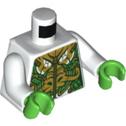 LEGO part 973c27h06pr5523 Torso Armor, Intricate Gold and Bright Green Design, Zipper Print, White Arms, Bright Green Hands in White