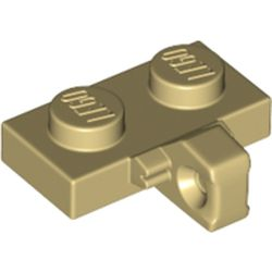 LEGO part  Hinge Plate 1 x 2 Locking with 1 Finger on Side, without Groove in Brick Yellow/ Tan