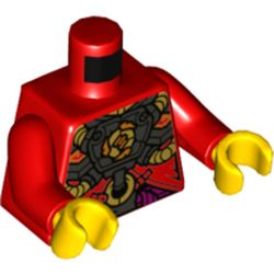 LEGO part 973c22h01pr5527 Torso Armor, Black Chest Panel with Gold Tubes Print, Red Arms, Yellow Hands in Bright Red/ Red