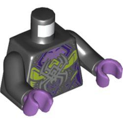 LEGO part 973c03h33pr5528 Torso Dress, Dark Bluish Gray Spider, Medium Lavender, Dark Purple and Lime Detailing Print, Black Arms, Medium Lavender Hands in Black