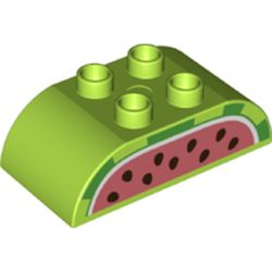 LEGO part 77958 Duplo Brick 2 x 4 Curved Top with Watermelon Print in Bright Yellowish Green/ Lime