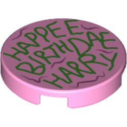 LEGO part 14769pr1183 Tile Round 2 x 2 with Green 'HAPPEE BIRTDAE HARRY' print in Light Purple/ Bright Pink