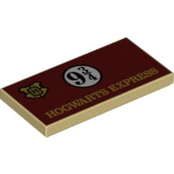 LEGO part 87079pr0242 Tile 2 x 4 with Dark Red Sign, 'HOGWARTS EXPRESS', '9 3/4' print in Brick Yellow/ Tan