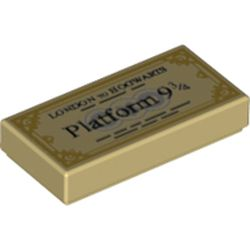 LEGO part 3069bpr0325 Tile 1 x 2 with Train Ticket, 'PERRON 9 3/4' print in Brick Yellow/ Tan