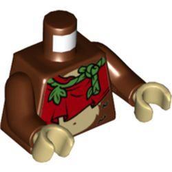 LEGO part 973c19h26pr5531 Torso Tunic, Red with Green Vine Strap, Bare Midriff with Monkey Stomach Print, Reddish Brown Arms, Tan Hands in Reddish Brown