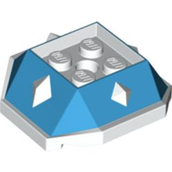LEGO part 67931 Brick Wedge Sloped 4 x 4 with Diamond Spikes with Medium Azure Slopes Print (Iggy Koopa Shell) in White