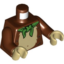 LEGO part 973c19h26pr5534 Torso Fur Monkey Stomach with Green Neckerchief Print, Reddish Brown Arms, Tan Hands in Reddish Brown