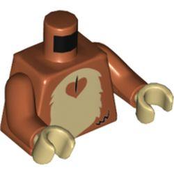 LEGO part 973c41h26pr5532 Torso Fur Monkey Stomach, Tan Print, Dark Orange Arms, Tan Hands in Dark Orange