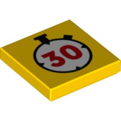LEGO part 78159 Tile 2 x 2 with Groove and Stopwatch with '30' Print in Bright Yellow/ Yellow