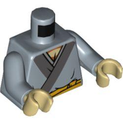 LEGO part 973c24h26pr5535 Torso Robe with Dark Bluish Gray Trim, Yellow Sash Belt Print, Sand Blue Arms, Tan Hands in Sand Blue