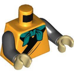 LEGO part 973c03h26pr5536 Torso Robe with Black Trim, Dark Turquoise Neckerchief Print, Black Arms, Tan Hands in Flame Yellowish Orange/ Bright Light Orange