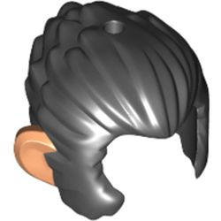 LEGO part 53094pr0002 Minifig Hair and Sideburns, with Flesh Ears Print in Black