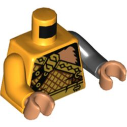 LEGO part 973e058pr5538 Torso, Odd Arms, Armor, Gold, Bare LEft Shoulder with Monkey Fur Print, Left Black Arm, Right Bright Light Orange Arm, Flesh Hands in Flame Yellowish Orange/ Bright Light Orange