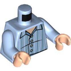 LEGO part 973c29h02pr5541 MINI UPPER PART, NO. 5541 in Light Royal Blue/ Bright Light Blue