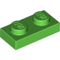 LEGO part 3023 Plate 1 x 2 in Bright Green