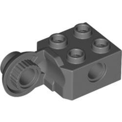 LEGO part 48454 BRICK 2X2 Ø4.85 VERTIC. SNAP in Dark Stone Grey / Dark Bluish Gray