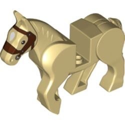 LEGO part  Animal, Horse, Moveable Legs with Reddish Brown Bridle Print in Brick Yellow/ Tan