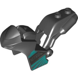 LEGO part 78317pr0001 Fairing, Motorcycle, Racing (Sport) Bike with 1 x 2 Studs and Dark Turquoise Stripes and 'NITRO' Print in Black
