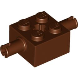 LEGO part 30000 Brick Special 2 x 2 with 2 Pins and Axle Hole in Reddish Brown