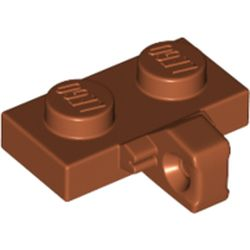 LEGO part 44567b Hinge Plate 1 x 2 Locking with 1 Finger on Side, without Groove in Dark Orange