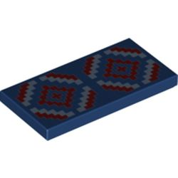LEGO part 87079pr0252 Tile 2 x 4 with Bright Light Blue and Dark Red Geometric Design Print in Earth Blue/ Dark Blue