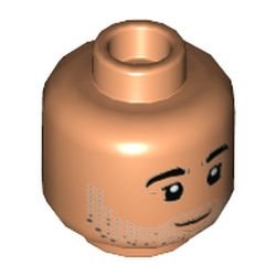 LEGO part 3626cpr3486 Minifig Head Tan, Thick Eyebrows, Silver Stubble, Closed Mouth Smile / Open Mouth Smile Print in Nougat