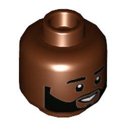 LEGO part 3626cpr3487 Minifig Head Karamo, Thick Eyebrows, Beard, Smile Showing Teeth Print in Reddish Brown