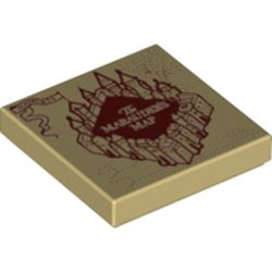 LEGO part  Tile 2 x 2 with Marauder Map print in Brick Yellow/ Tan