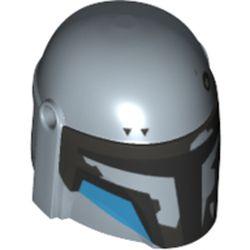 LEGO part 87610pr0356 Minifig Helmet Mandalorian with Holes, Black Visor and Medium Azure Markings Print in Sand Blue