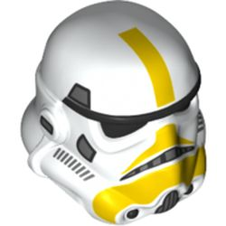 LEGO part 42861pr0005 Minifig Helmet SW Stormtrooper, Dual Molded with Yellow Markers Stains in White