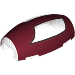 LEGO part 10312pr0011 Windscreen 10 x 6 x 3 Bubble Canopy Double Tapered with Square Front Cutout and Dark Red Dual Cockpit Print in Transparent/ Trans-Clear