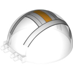 LEGO part 52979pr0002 Windscreen 6 x 6 x 3 Canopy Half Sphere with Dual 2 Fingers with White/Bright Light Orange Cockpit print in Transparent/ Trans-Clear