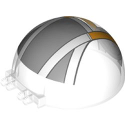 LEGO part 52979pr0003 Windscreen 6 x 6 x 3 Canopy Half Sphere with Dual 2 Fingers with White/Bright Light Orange/Light Bluish Grey Cockpit print in Transparent/ Trans-Clear