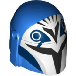 LEGO part 87610pr0350 Minifig Helmet Mandalorian with Holes with White Front, Black Visor and Markings print in Bright Blue/ Blue
