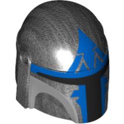 LEGO part 87610pr0351 Minifig Helmet Mandalorian with Holes with Black Visor, Blue Markings Print in Titanium Metallic/ Pearl Dark Gray