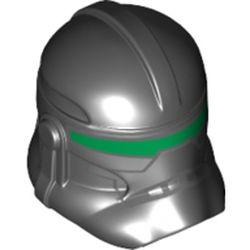 LEGO part 11217pr0347 Minifig Helmet SW Clone Trooper with Green Visor Print in Black