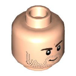 LEGO part 3626cpr9746 Minifig Head, Dark Brown Eyebrows, Black Stubble, Grin / Angry print [Hollow Stud] in Light Nougat