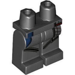 LEGO part 970c00pr9781 Legs and Hips, Dark Bluish Grey Knife Holster, Dark Blue Pocket print in Black