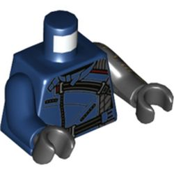 LEGO part 973e106pr0001 Torso, Black Straps, Zippers, Odd Arms, Left Black Arm with Gold Circuitry print, Right Dark Blue Arm, Black Hands [Plain] in Earth Blue/ Dark Blue