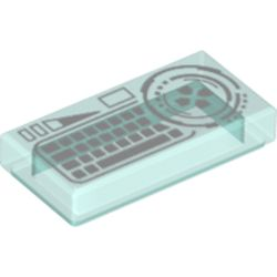 LEGO part 3069bpr9982 Tile 1 x 2 with White Keyboard print in Transparent Light Blue/ Trans-Light Blue